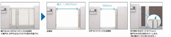 ■間口サイズは、片引きでW13(750mm)とW15(95アーキスライドE型