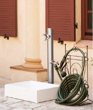 丸形アルミ 2口水栓柱 HI-16WR