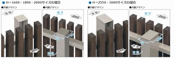 H=1600〜2000サイズの場合は支柱の最大高さは20エルファード片面タイプ M1型