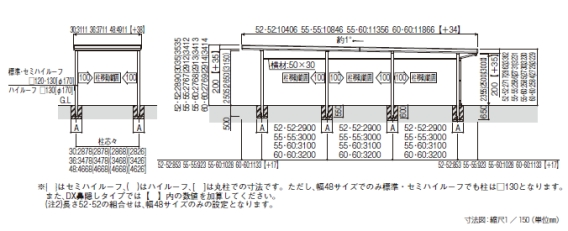 ジーポートneo たて(2)連棟セット/2台用・4台用/Aタイプ / / /